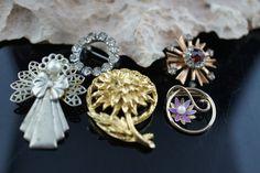 Art Deco Jewelry leaf flower bow wreath filigree cz brooch circa minimalist Modernist Graceful pin silver gold tone set 5  v127 by VintageEstate86 on Etsy