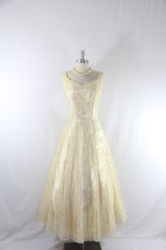 1950's Vintage Wedding Dress  Ivory Lace by VintageFrocksOfFancy, $190.00