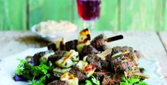 Lamb,Mint and Halloumi Kebabs. Make with lean boneless lamb leg or shoulder, cut into 2.5cm/1inch cubes