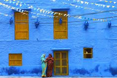 "Jodhpur, India is nicknamed ""The Blue City"". I love the banners in this photograph."