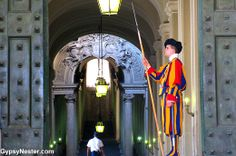 Swiss guard at The Vatican - see more: http://www.gypsynester.com/rome.htm #travel #italy #rome