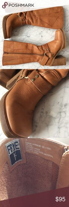 Frye Karma Harness FRYE 77590 Karma Harness Brown Marbled Leather Riding Motorcycle Boots.  Block heel, ankle strap, elastic goring at top of boot shaft for flexible calf fit. Condition: very good/ gently used. Scuffing on soles, especially at back of sole. See pictures. Frye Shoes Heeled Boots