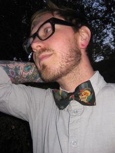 Flash Art Tattoo Skull Bow Tie by DashingFox on Etsy, $15.00