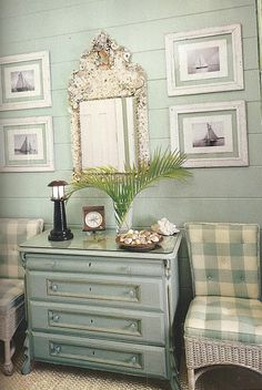 ❤ the color, framed sailboat pictures, and heavy shelled mirror