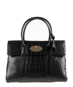 Bayswater black croc leather grab bag Sale - Mulberry