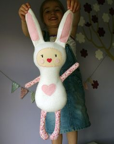 plush Bunny Girl - soft art doll made from fleece and cotton