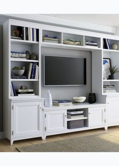 Entertainment center glass doors stunning white media cabinet with bookshel Built In Entertainment Center, Entertainment Room, Living Room Shelves, Living Room Tv, Tv Wall Ideas Living Room, Built In Shelves, Built Ins, Glass Shelves, Design Ikea