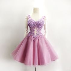 Hd08135 Charming Homecoming Dress,Appliques Homecoming Dress,Organza Homecoming Dress, Short V-Neck on Luulla