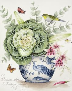 Cabbage Flower and Orchid with Cape White Eye in a Blue and White Pot. Original Painting by Kelly Higgs