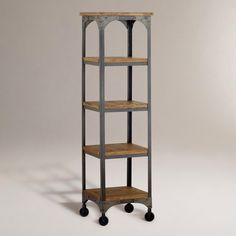 "REALLY WANT IT :: Aiden Etagere :: $259.99, Now $219.99 | Cost Plus World Market :: [16.5""w, 16.5""d, 59.8""h] Mango wood, metal :: I guess if I can't afford the big one, this one would definitely work! I love it! 