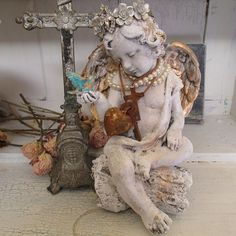 Angel statue with golden bluebird hand painted by AnitaSperoDesign, $280.00
