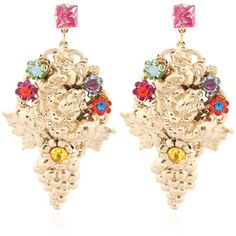 HALO & CO English Garden Earrings (€440) ❤ liked on Polyvore featuring jewelry, earrings, flower jewelry, flower earrings, earrings jewelry, swarovski crystal earrings e swarovski crystal jewelry