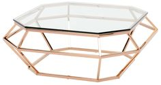 Diamond Coffee Table in Clear Rose Gold by Nuevo Living
