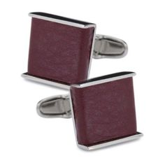 denisonboston Luxe Square Red Leather Stainless Cufflinks - VALENTINES... via Polyvore