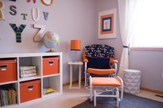 Expedit in orange and blue boy room