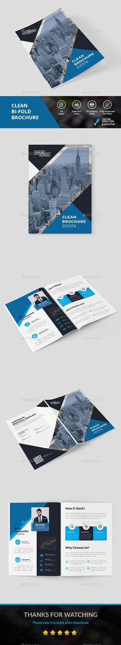 Clean Brochure - #Corporate #Brochures Download here: https://graphicriver.net/item/clean-brochure/19609312?ref=alena994