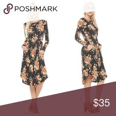 Floral midi round hem pocket dress Gorgeous floral round hem midi dress PLEASE Use the Poshmark new option you can purchase and it will give you the option to pick the size you want ( all sizes are available) BUNDLE and save 10% ( no trades price is firm unless bundled) Dresses Midi