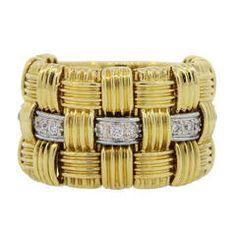 Roberto Coin Appassionata Diamond Woven Gold Ring