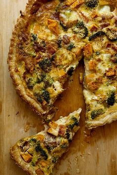 Broccoli, boccocini and prosciutto tart made with puff pastry