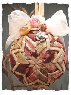 Thanksgiving Prayer Quilted Ball Christmas Ornament Shabby Chic Victorian Cottage Pink Roses via Etsy