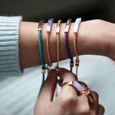Stack your Linear Winter Edit and Linear Stone #Friendshipbracelets together for a unique look. #MYMV #MonicaVinader.