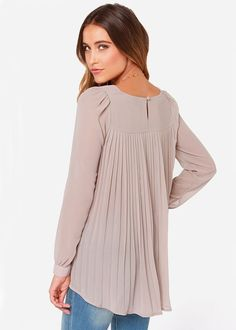 #SALE Nude Long Sleeve Pleated Back Blouse Shop the #SALE at #Sheinside
