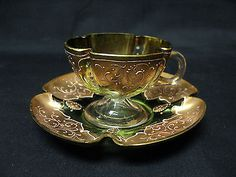 BEAUTIFUL-ANTIQUE-GREEN-MOSER-ART-GLASS-CUP-SAUCER-with-GILT-ENCRUSTED-DECOR