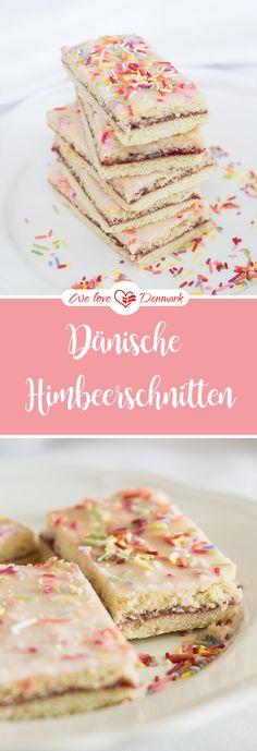 Rezept: Dänische Hindbaersnitter (Himbeerschnitten) https://www.welovedenmark.de/daenische-hindbaersnitter-himbeerschnitten/