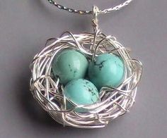 Wire wrapped birds nest pendant with by allwrappedbyalissa on Etsy