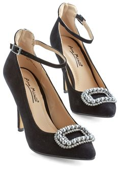 Me and My Pearls Heel in Black - High, Mixed Media, Black, Solid, Pearls, Special Occasion, Prom, Wedding, Party, Holiday Party, Vintage Inspired, 20s, Luxe, Good, Variation, Rhinestones