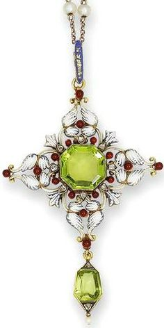 A late 19th century peridot, enamel and diamond pendant, by Carlo Giuliano, circa 1880 The pierced quatrefoil plaque decorated with white and blue champlevé enamel, set centrally with an octagonal peridot, within a red enamelled bead and rose-cut diamond floral surround, terminating in a trapezoid-cut peridot drop with rose-cut diamond and seed pearl embellishment, blue champlevé enamel decoration to the reverse