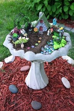 Think you don't have a spot for a fairy garden? Try a bird bath! #SecretGarden