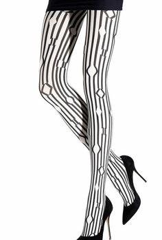 Panty de fantasia emilio cavallini con lineas verticales irregulares. Estampado geometrico en combinacion de blanco y negro. densidad 40-80 deniers ref: 5783.1.3 Emilio cavallini.  Made in Italy  www.lenceriaemi.com  www.facebook.com/lenceriacorseteriaemi