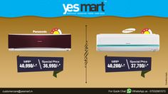 #YesMart Hot Summer Cool Offers!! Top Brands Latest #3star 'Energy Saving' #AirConditioners with High cooling Functioning exclusively available in Great & Unbelivable offers @YesMart. Grab these #Ac's to your Home from #YesMart stores before the offer ends. For more info Visit - www.yesmart.in