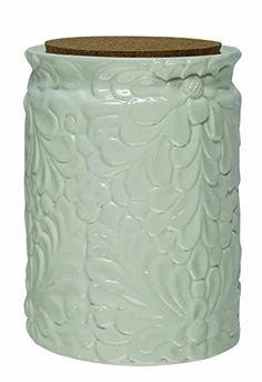 Creative Co-Op Embossed Ceramic Jar with Cork Lid, 5-1/2…