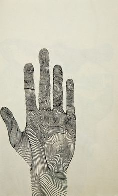 Human Hand, Intricate Line Drawing, Illustration.
