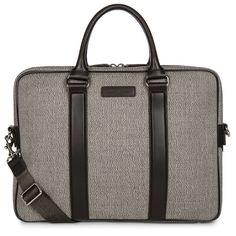Brown briefcase Dan, Lancaster Paris. #bag #briefcase #brown #chevrons #leather #style #chic #menstyle #lancaster #lancasterparis