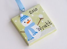 3x3 Canvas Christmas Ornament Personalized par threedoodlebugs