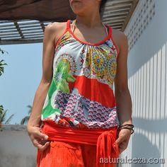 和テイスト★サイケDEバッキリ!ウエスト切替えキャミ #fashion #naturaleeza #tops