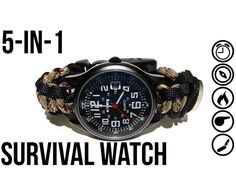 In this tutorial I'll show you how to make the ultimate 5-in-1 survival watch for around $20.00.  This masculine gadget boasts five utilities: a watch...