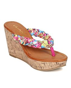 1ef638e73aa115 Liliana CE29 Women Tropical Rhinestone Braided Thong Wedge Sandal Fuchsia  Size 70 -- You can