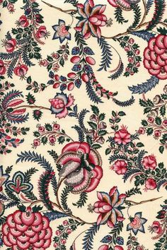Large floral motif on a ecru base. cottonWidth of the fabric: The repeat pattern is 30 cm. This indienne fabric is available in other colours and . Textile Pattern Design, Textile Patterns, Textile Prints, Print Patterns, Paisley Pattern, Vintage Flowers Wallpaper, Fabric Wallpaper, Flower Wallpaper, Diamond Wallpaper