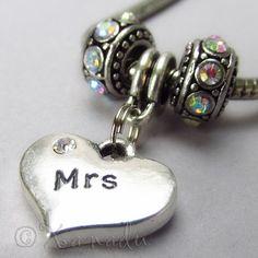 Mrs European Heart Birthstone Trio For Large Hole Charm Bracelets