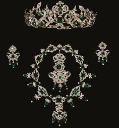 "europesroyals: "" Royal Jewels of Denmark Emerald Parure of Queen Caroline-Amalie """