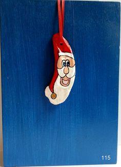Oyster shell Santa Claus Christmas ornament, coastal home decor, beach ornaments