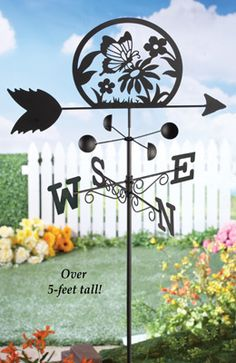Spinning Metal Butterfly Weathervane Garden Stake