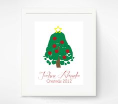 Baby's First Christmas - Baby Footprint Christmas Tree - Personalized Christmas Decor - Kids Holiday Home Decor. $30.00, via Etsy.