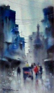 Artist ..Sarfaraz Musawir.  water colour painting