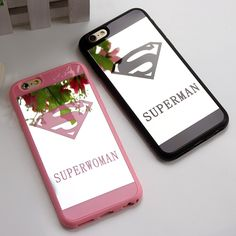 Superman Superwoman Mirror Surface Soft TPU Case for iPhone 5 5S 6S 6 7 Plus