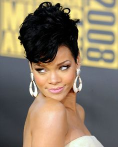 Rihanna Short Weave Hairstyles Beauty Hairstyles Rihanna short images of short weavon hair styles - Hair Style Image Short Hair Mohawk, Short Weave Hairstyles, Short Curly Hairstyles For Women, Rihanna Hairstyles, Permed Hairstyles, Short Hair Cuts, Girl Hairstyles, Bridal Hairstyles, Up Dos